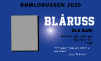 Russekort orgianl Blå