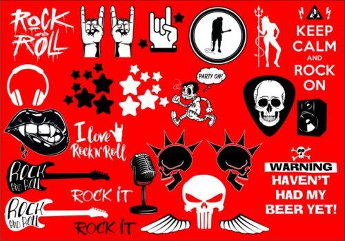 Strykke sett 4, rock on, hodeskalle, gitar