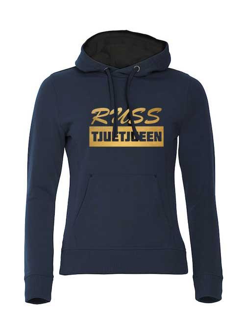 hoodie-russ-tjuetjueen-blå-med-gulltrykk
