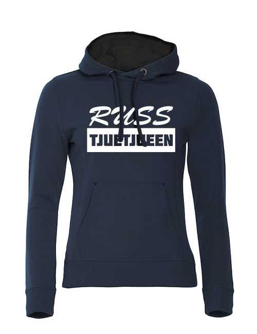 hoodie-russ-tjuetjueen-blå-med-hvitt-trykk