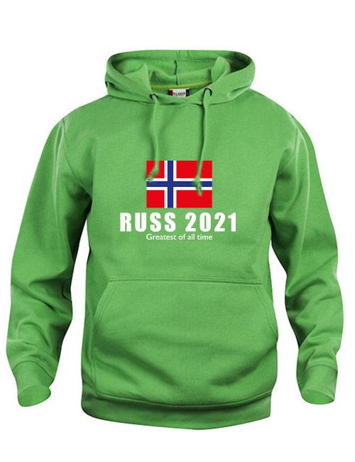 Basic hoodie Russ 2021 med norsk flagg