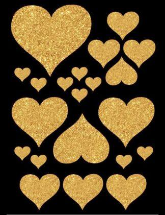 Hjerte glitter gull