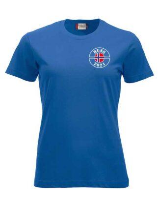 T-skjorte russ2021 stempel jente jente blå