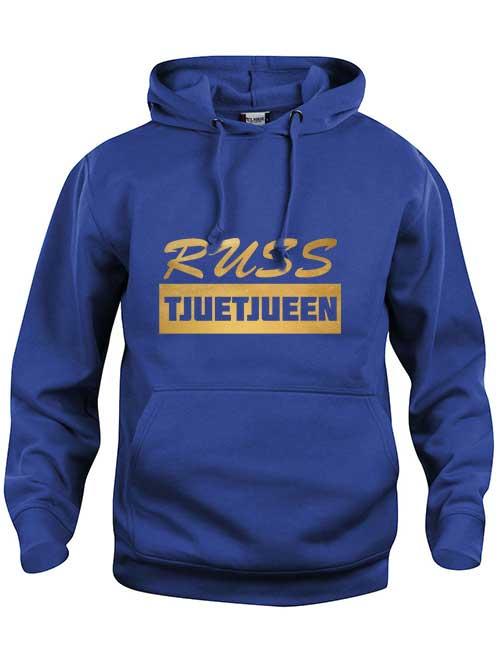 hoody russ tjuetjueen blå genser gull skrift