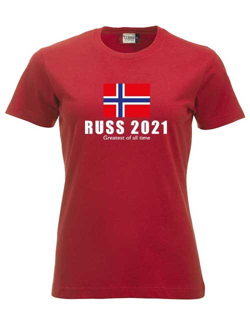 T-skjorte-rød-Flagg med Greatest of all time tekst-jente