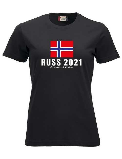 T-skjorte-sort-Flagg med Greatest of all time tekst-jente