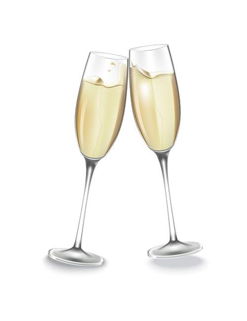 Strykemerke champagneglass