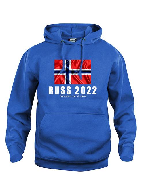 Hoodie flagg russ 2022 blå