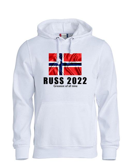 Hoodie flagg russ 2022 hvit