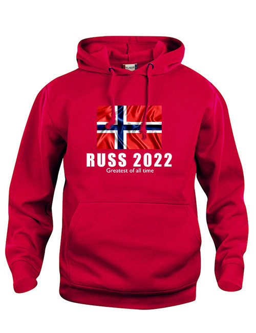 Hoodie flagg russ 2022 rød