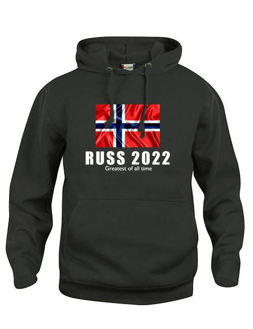 Hoodie flagg russ 2022 sort