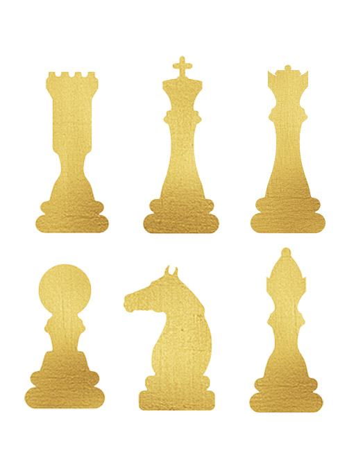 Strykesett sjakkbrikker 6 stykk i gull - dronning,konge,løper ,tårn,hest, bonde